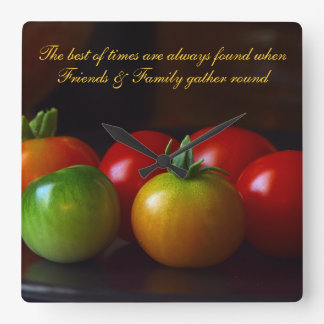 Red & Green Tomatoes Family & Friends Quote Clock