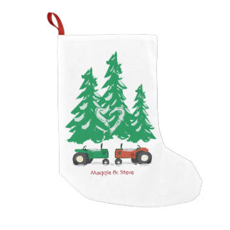 Red & Green Tractor Christmas Stocking