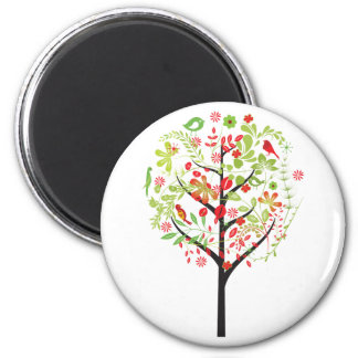Red green tree and cute birds magnet