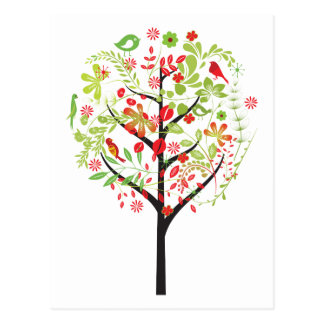 Red green tree and cute birds postcard