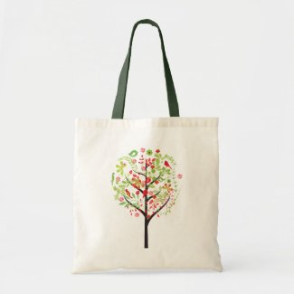 Red green tree and cute birds tote bag, bag