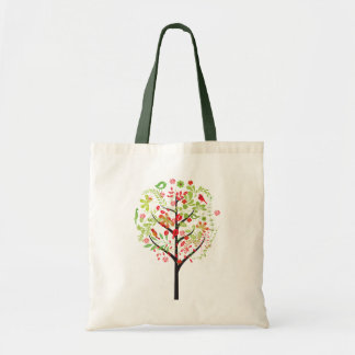 Red green tree and cute birds tote bag