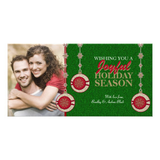 Red Green Tree Ornaments Xmas Photo Cards