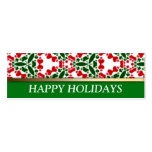 Red + Green Tri-Hearts Mini Size Christmas Cards Business Card Template