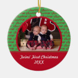 Red & Green Twins Picture Ornament