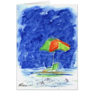 Red/Green Umbrella Beach Card