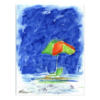 Red/Green Umbrella Beach Postcard