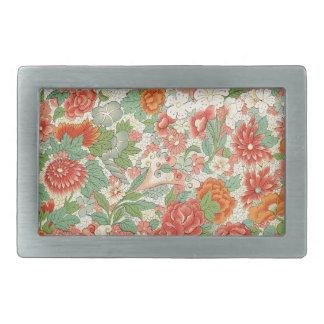 Red & Green Vintage Floral Design Belt Buckle