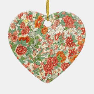 Red & Green Vintage Floral Design Ceramic Ornament