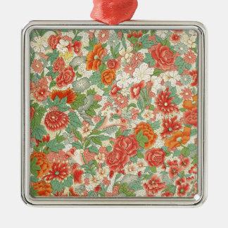 Red & Green Vintage Floral Design Metal Ornament