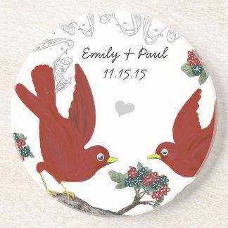 Red & Green Vintage Love Birds Coasters