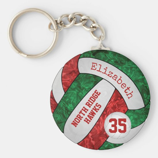 red & green volleyball keychain w school team name