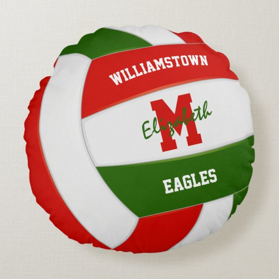 red green volleyball sports team colors round pillow
