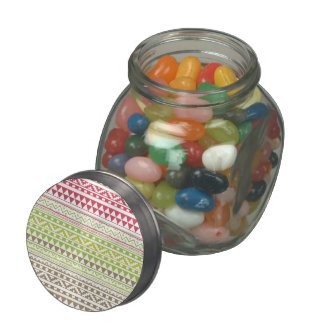 Red Green Watercolor Aztec Tribal Print Pattern Jelly Belly Candy Jars