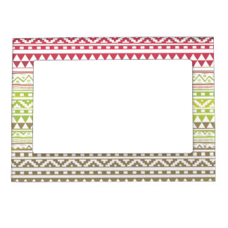 Red Green Watercolor Aztec Tribal Print Pattern Photo Frame Magnet