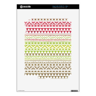 Red Green Watercolor Aztec Tribal Print Pattern Skins For iPad 2
