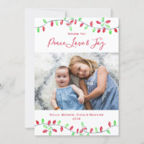 Red Green Watercolor Christmas String Lights Photo Holiday Card