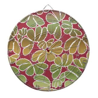 Red Green Whimsical Ikat Floral Doodle Pattern Dartboard
