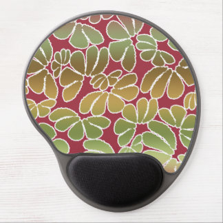 Red Green Whimsical Ikat Floral Doodle Pattern Gel Mouse Pad
