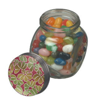 Red Green Whimsical Ikat Floral Doodle Pattern Glass Jars