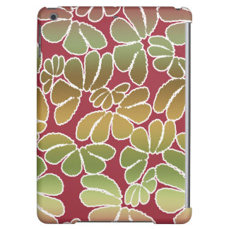 Red Green Whimsical Ikat Floral Doodle Pattern iPad Air Covers