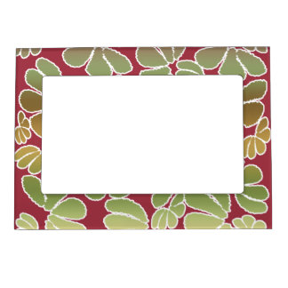 Red Green Whimsical Ikat Floral Doodle Pattern Magnetic Photo Frame