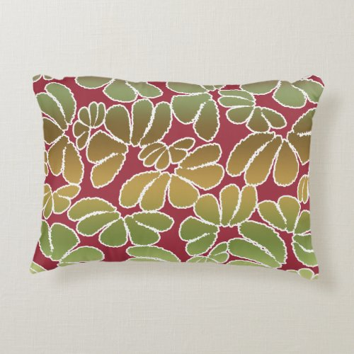 Red Green Whimsical Ikat Floral Doodle Pattern Accent Pillow