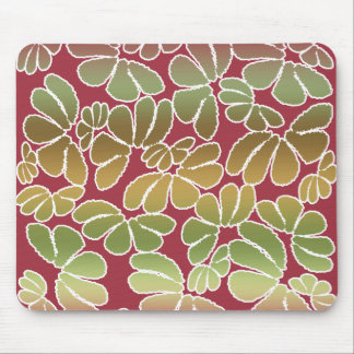 Red Green Whimsical Ikat Floral Doodle Pattern Mouse Pad
