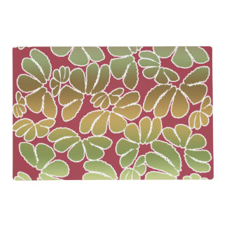 Red Green Whimsical Ikat Floral Doodle Pattern Placemat