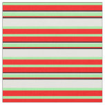 [ Thumbnail: Red, Green, White, and Black Colored Lines Fabric ]