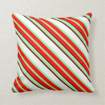 [ Thumbnail: Red, Green, White, and Black Colored Lines Pillow ]