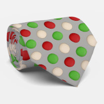Red Green White Black Polka Dot Neck Tie