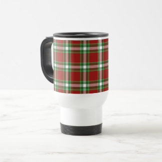 Red Green White Cool Red Lumberjack Plaid Pattern Travel Mug