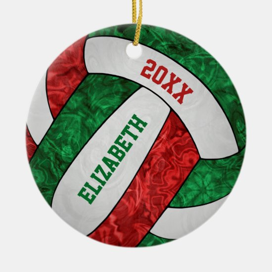 red green white girls' volleyball Christmas Ceramic Ornament