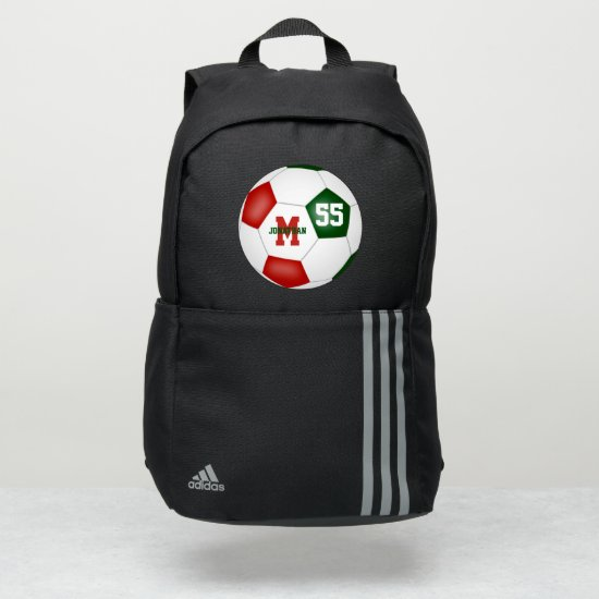red green white his hers soccer ball personalized adidas backpack