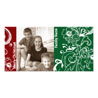 Red Green White Photo Christmas Card