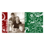 Red Green White Photo Christmas Card Personalized Photo Card