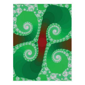 Red Green White Spiral Fractal Postcard