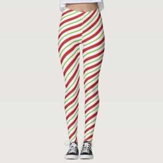 Red Green White Stripes Christmas Pattern Leggings