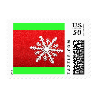 Red/Green Winter Snowflake Christmas Glitter Postage