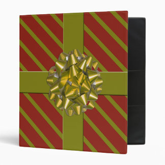 Red & Green Wrapped Christmas Gift Holiday Binder