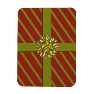 Red & Green Wrapped Christmas Gift Holiday Magnet