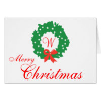 Red Green Wreath Monogram Merry Christmas Cards