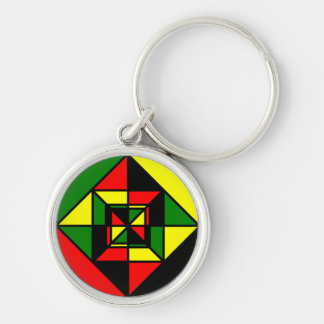 Red Green Yellow and Black Diamond Silver-Colored Round Keychain