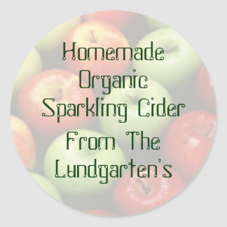 Red Green & Yellow Apples Personalized Cider Stick Classic Round Sticker