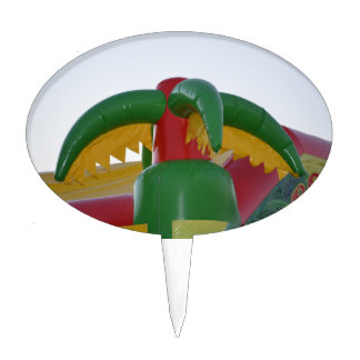red green yellow blow up palm tree colorful design cake topper