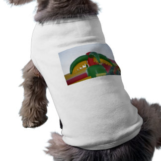 red green yellow blow up palm tree colorful design pet t shirt