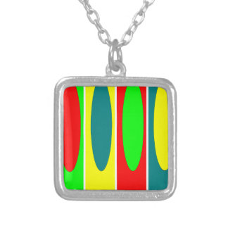 Red, green, yellow, Blue ovals Fractal art design Square Pendant Necklace