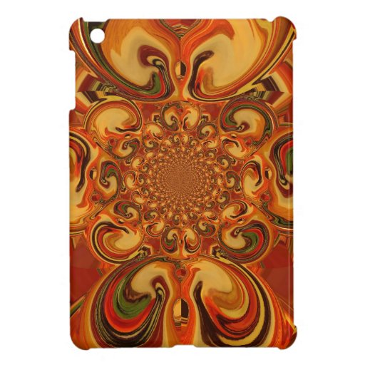 Red green yellow Cool Retro Vintage flowers design iPad Mini Cover