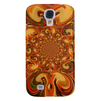 Red green yellow Cool Retro Vintage flowers design Samsung Galaxy S4 Cover